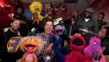 Jimmy Fallon and Quest Love sing with Sesame Street cast